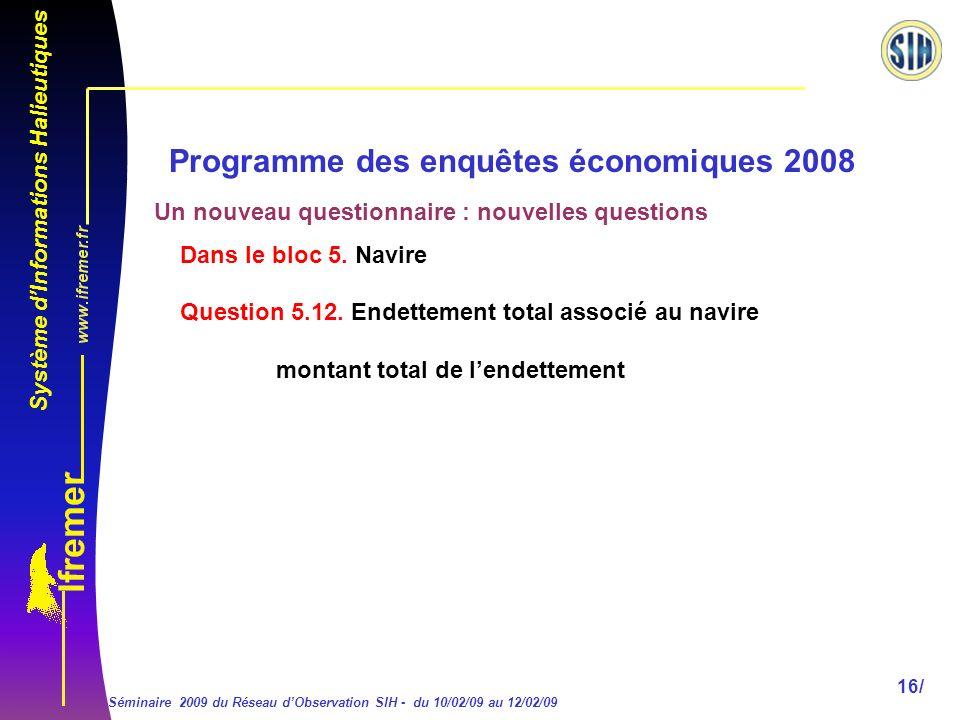 Système dInformations Halieutiques Séminaire 2009 du Réseau dObservation SIH - du 10/02/09 au 12/02/09 16/ Programme des enquêtes économiques 2008 Dans le bloc 5.