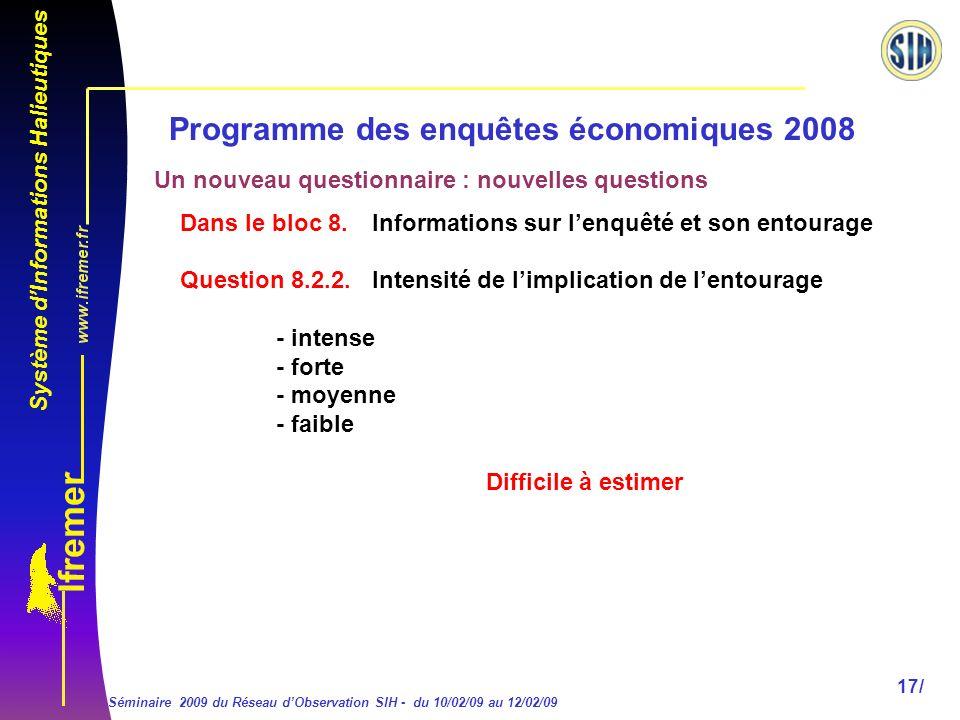 Système dInformations Halieutiques Séminaire 2009 du Réseau dObservation SIH - du 10/02/09 au 12/02/09 17/ Programme des enquêtes économiques 2008 Dans le bloc 8.
