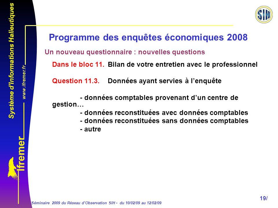 Système dInformations Halieutiques Séminaire 2009 du Réseau dObservation SIH - du 10/02/09 au 12/02/09 19/ Programme des enquêtes économiques 2008 Dans le bloc 11.