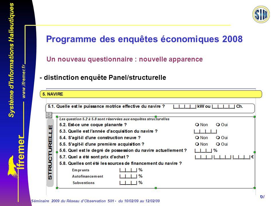 Système dInformations Halieutiques Séminaire 2009 du Réseau dObservation SIH - du 10/02/09 au 12/02/09 6/ Programme des enquêtes économiques 2008 Un nouveau questionnaire : nouvelle apparence - distinction enquête Panel/structurelle