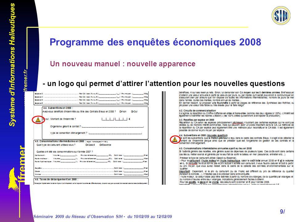 Système dInformations Halieutiques Séminaire 2009 du Réseau dObservation SIH - du 10/02/09 au 12/02/09 20/ Programme des enquêtes économiques 2008 Dans le bloc 11.