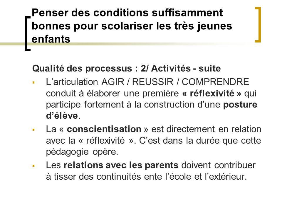Penser des conditions suffisamment bonnes pour scolariser les très jeunes enfants Qualité des processus : 2/ Activités - suite Larticulation AGIR / RE
