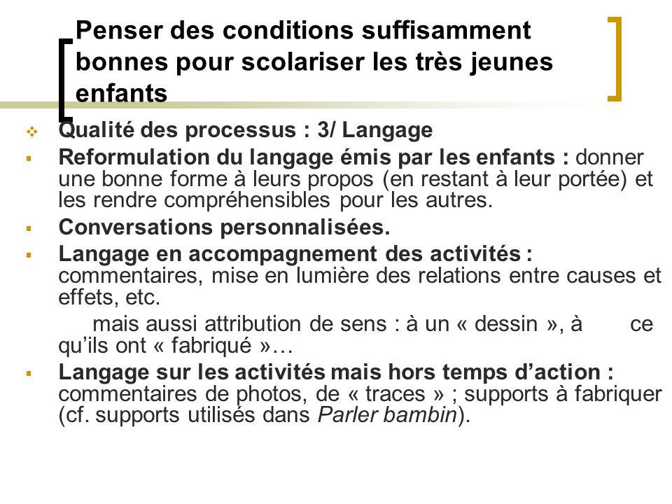 Penser des conditions suffisamment bonnes pour scolariser les très jeunes enfants Qualité des processus : 3/ Langage Reformulation du langage émis par