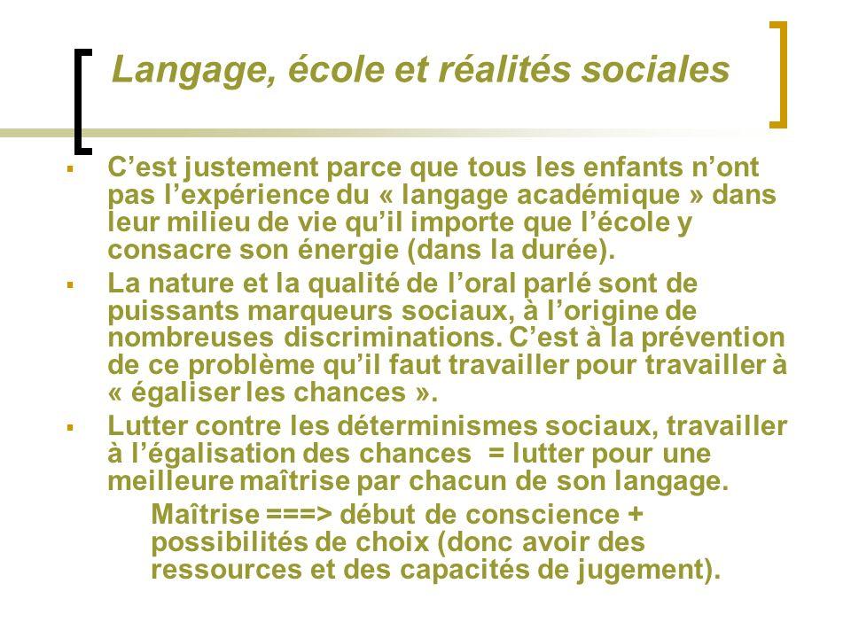 Langage, école et réalités sociales Cest justement parce que tous les enfants nont pas lexpérience du « langage académique » dans leur milieu de vie q