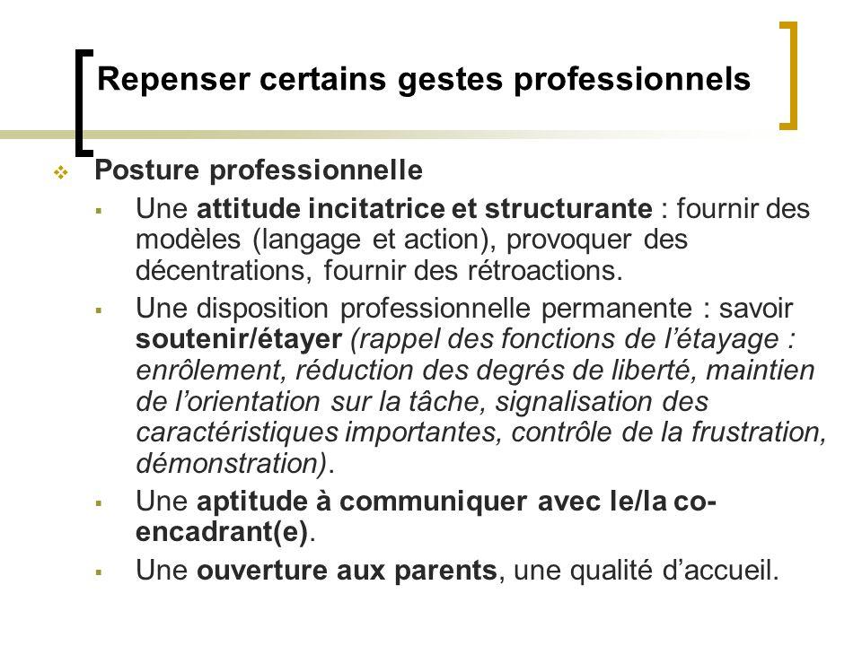 Repenser certains gestes professionnels Posture professionnelle Une attitude incitatrice et structurante : fournir des modèles (langage et action), pr