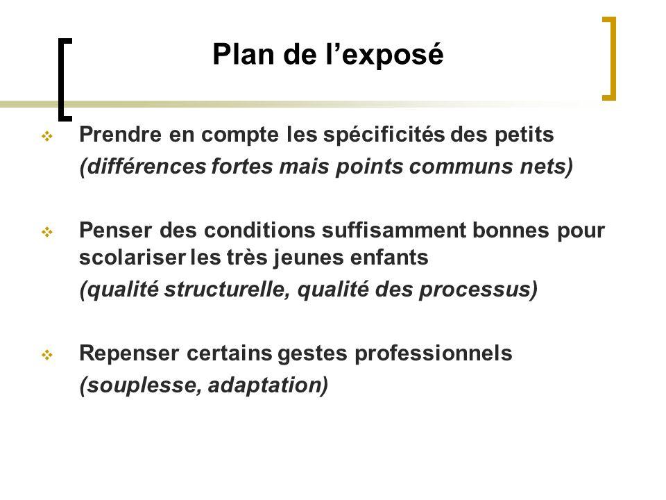 Plan de lexposé Prendre en compte les spécificités des petits (différences fortes mais points communs nets) Penser des conditions suffisamment bonnes