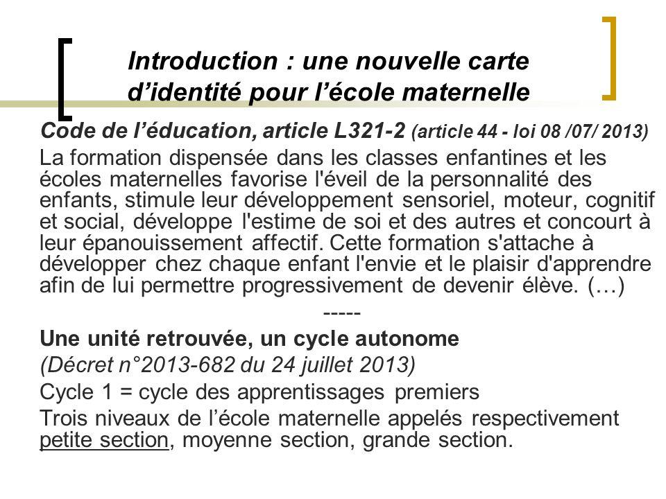 Introduction : une nouvelle carte didentité pour lécole maternelle Code de léducation, article L321-2 (article 44 - loi 08 /07/ 2013) La formation dis