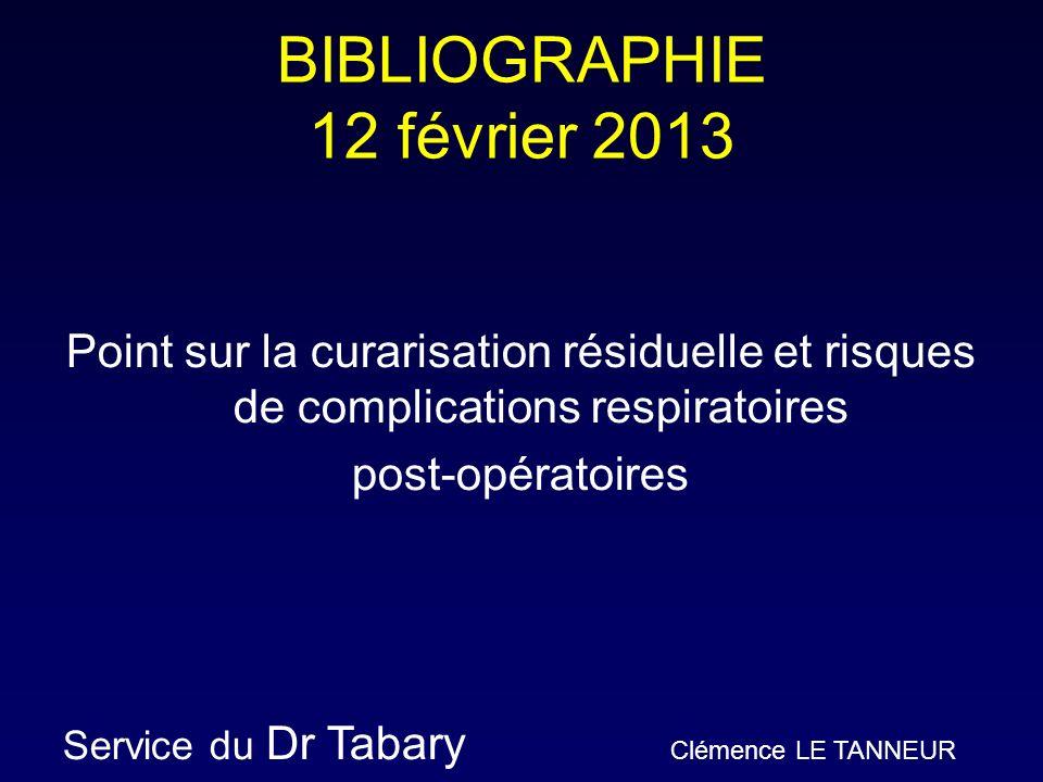 BIBLIOGRAPHIE 12 février 2013 Point sur la curarisation résiduelle et risques de complications respiratoires post-opératoires Service du Dr Tabary Clé