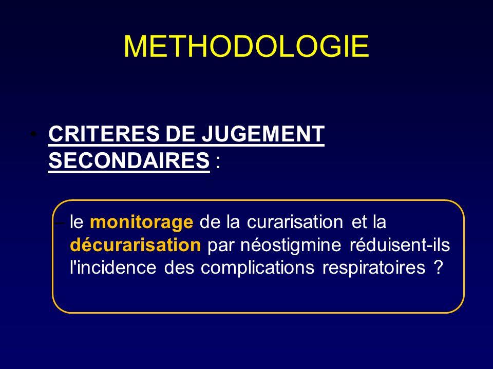 METHODOLOGIE CRITERES DE JUGEMENT SECONDAIRES : –le monitorage de la curarisation et la décurarisation par néostigmine réduisent-ils l'incidence des c