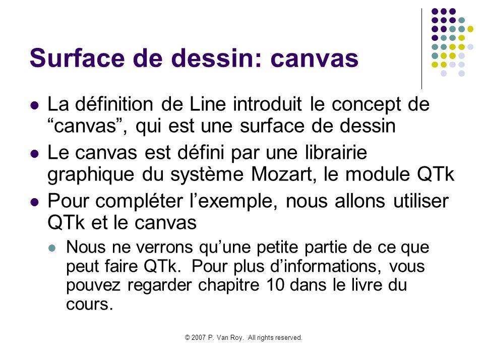 © 2007 P. Van Roy. All rights reserved. Surface de dessin: canvas La définition de Line introduit le concept de canvas, qui est une surface de dessin