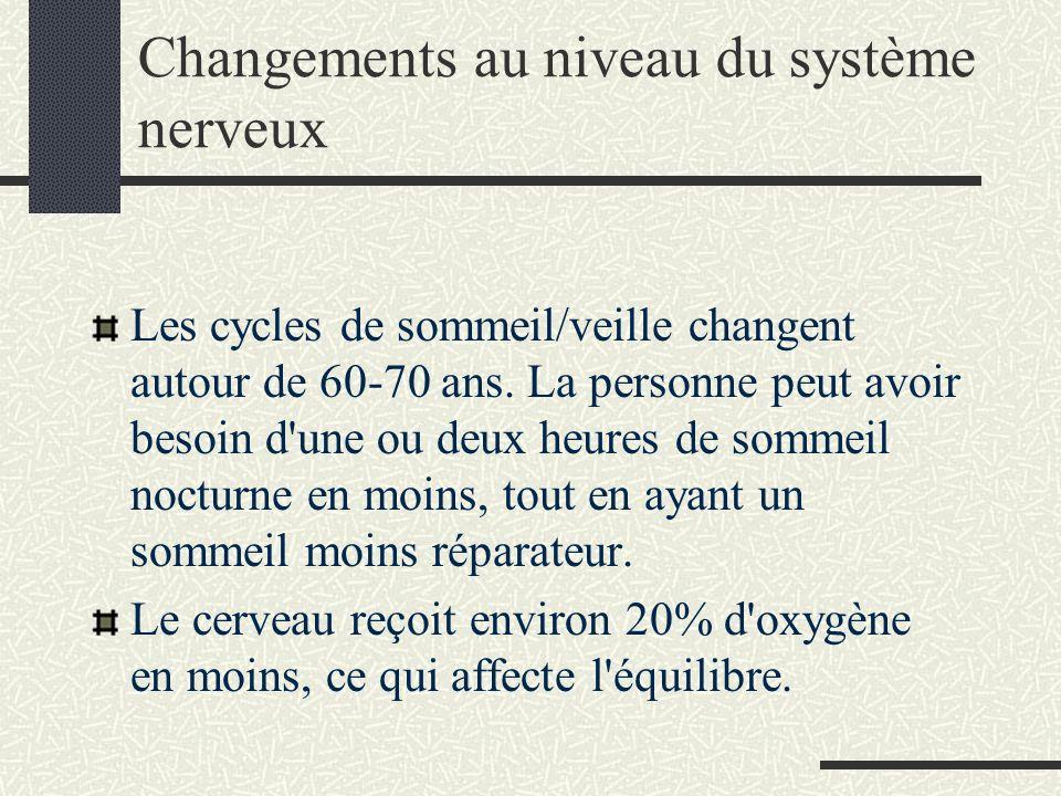 Changements au niveau du système nerveux Les cycles de sommeil/veille changent autour de 60-70 ans.