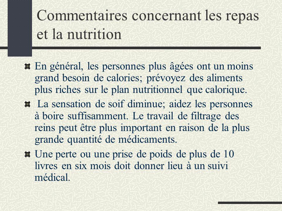 Commentaires concernant les repas et la nutrition En général, les personnes plus âgées ont un moins grand besoin de calories; prévoyez des aliments plus riches sur le plan nutritionnel que calorique.