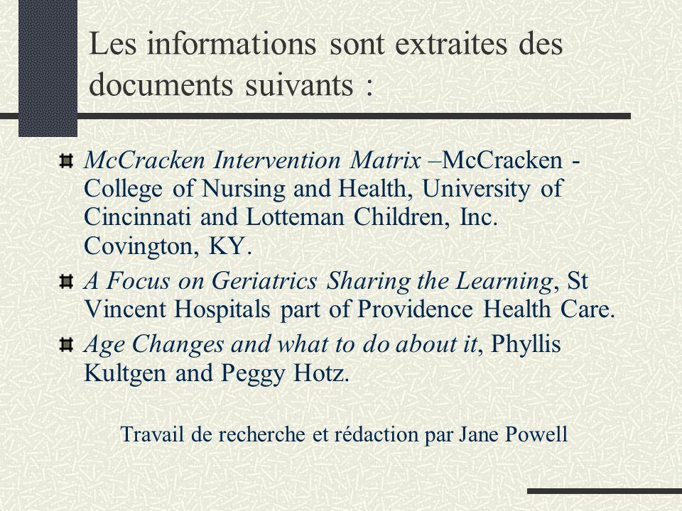 Les informations sont extraites des documents suivants : McCracken Intervention Matrix –McCracken - College of Nursing and Health, University of Cincinnati and Lotteman Children, Inc.
