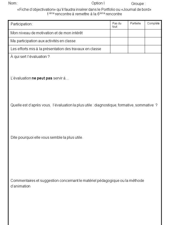 «Fiche dobjectivation» quil faudra insérer dans le Portfolio ou «Journal de bord» 1 ième rencontre à remettre à la 6 ième rencontre Participation: Pas