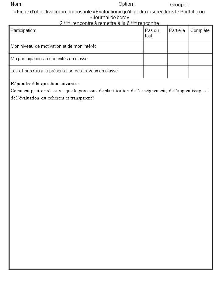 «Fiche dobjectivation» composante «Évaluation» quil faudra insérer dans le Portfolio ou «Journal de bord» 2 ième rencontre à remettre à la 6 ième renc