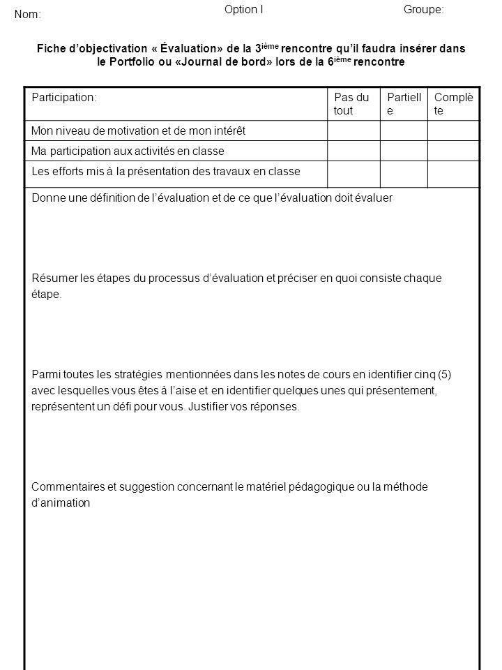 Fiche dobjectivation « Évaluation» de la 3 ième rencontre quil faudra insérer dans le Portfolio ou «Journal de bord» lors de la 6 ième rencontre Parti