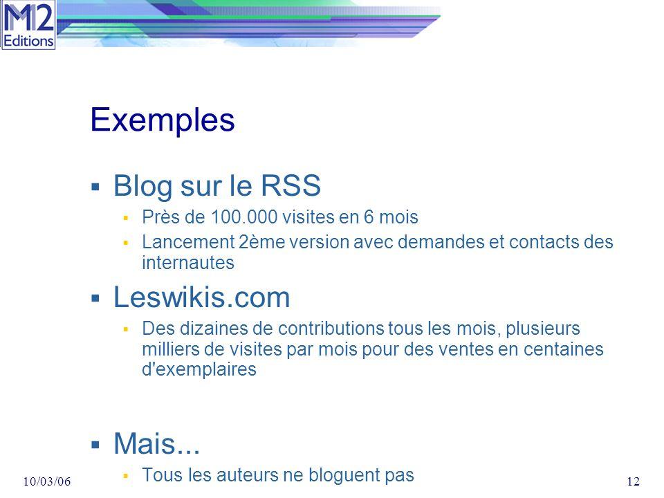 10/03/0612 Exemples Blog sur le RSS Près de 100.000 visites en 6 mois Lancement 2ème version avec demandes et contacts des internautes Leswikis.com Des dizaines de contributions tous les mois, plusieurs milliers de visites par mois pour des ventes en centaines d exemplaires Mais...