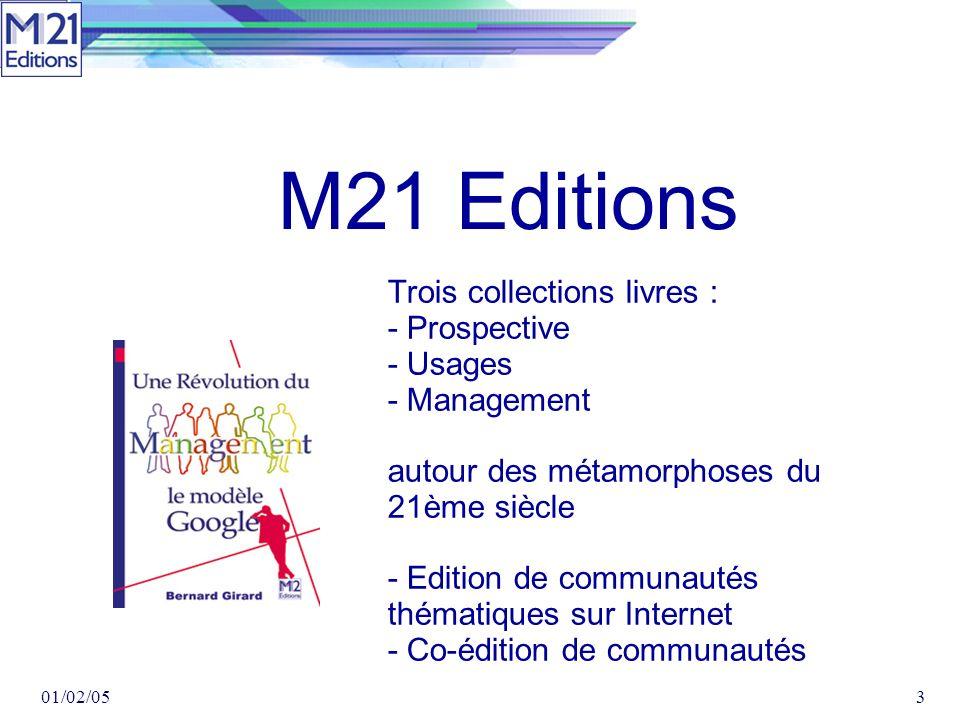 01/02/053 Trois collections livres : - Prospective - Usages - Management autour des métamorphoses du 21ème siècle - Edition de communautés thématiques sur Internet - Co-édition de communautés M21 Editions