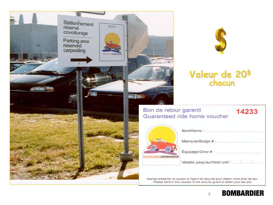 16 Se sont joint au programme de covoiturage Usine de Mirabel (ouverture en Août 2001) Centre de Finition – BCCM (200 Côte-Vertu) Usine Nortel (105 Marcel-Laurin)