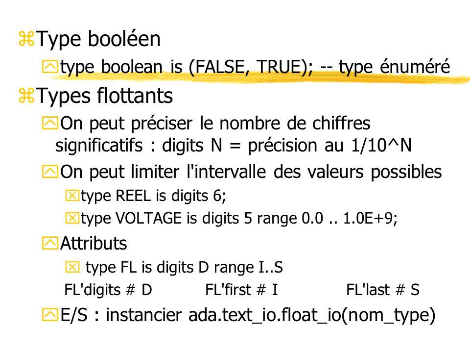 zType booléen ytype boolean is (FALSE, TRUE); -- type énuméré zTypes flottants yOn peut préciser le nombre de chiffres significatifs : digits N = préc