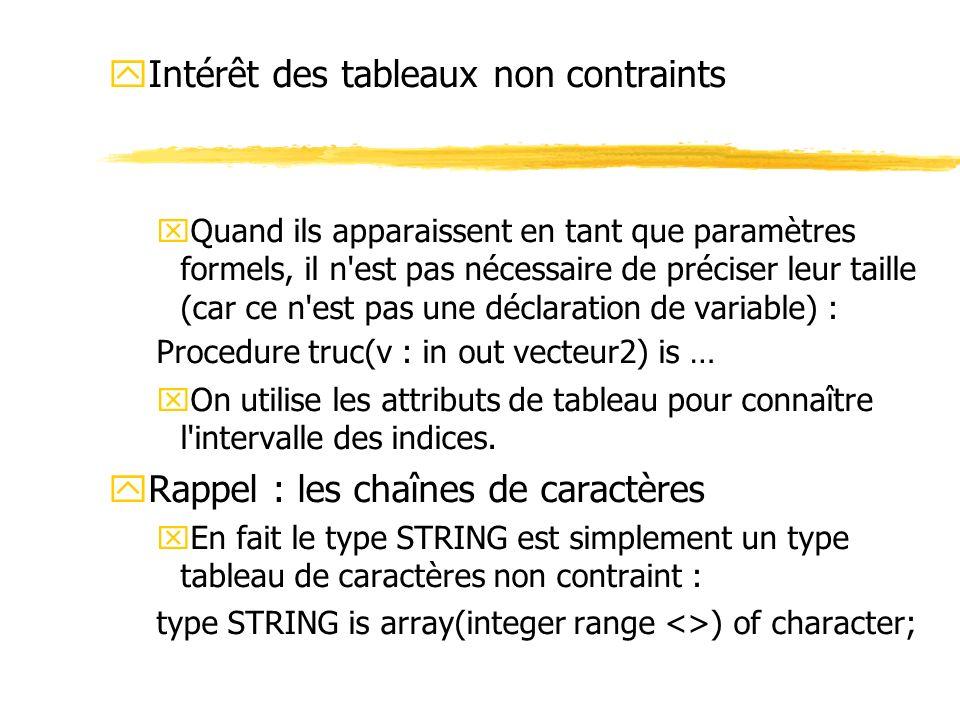 yIntérêt des tableaux non contraints xQuand ils apparaissent en tant que paramètres formels, il n'est pas nécessaire de préciser leur taille (car ce n