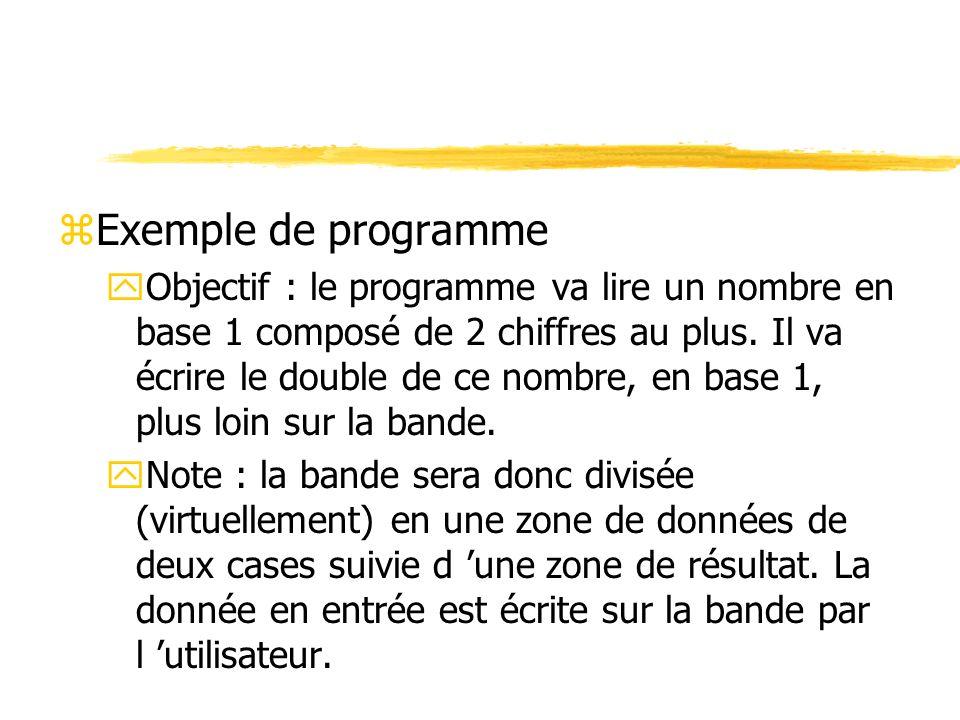 zExemple de programme yObjectif : le programme va lire un nombre en base 1 composé de 2 chiffres au plus. Il va écrire le double de ce nombre, en base
