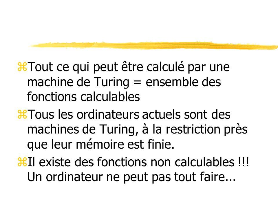 zTout ce qui peut être calculé par une machine de Turing = ensemble des fonctions calculables zTous les ordinateurs actuels sont des machines de Turin