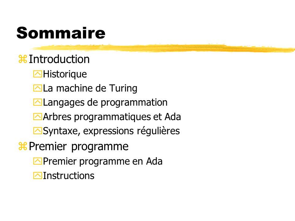 Sommaire zIntroduction yHistorique yLa machine de Turing yLangages de programmation yArbres programmatiques et Ada ySyntaxe, expressions régulières zP