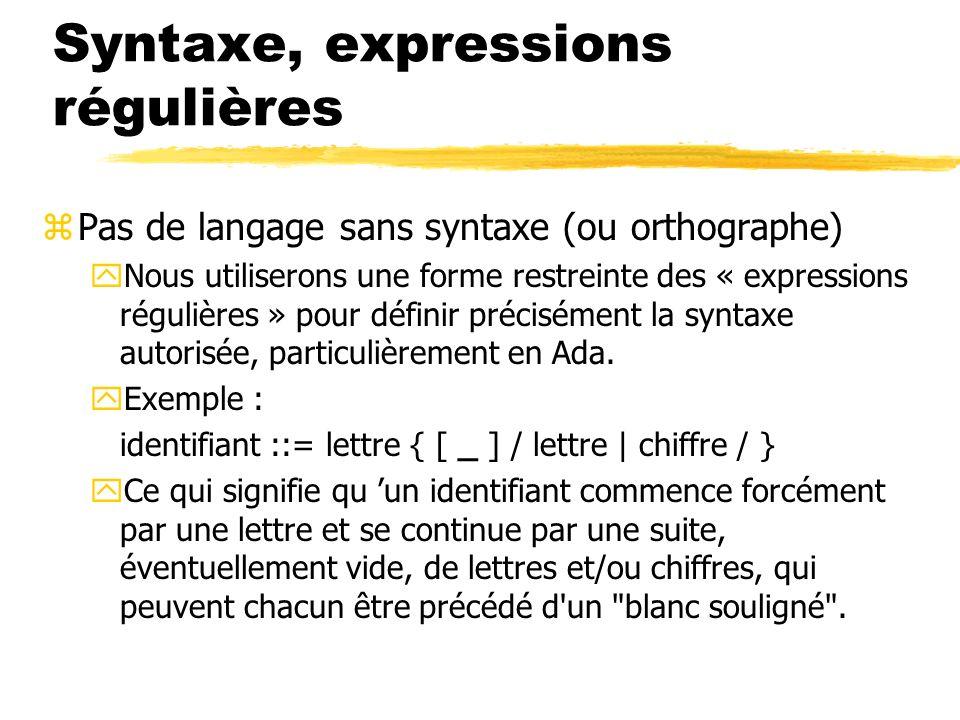Syntaxe, expressions régulières zPas de langage sans syntaxe (ou orthographe) yNous utiliserons une forme restreinte des « expressions régulières » po