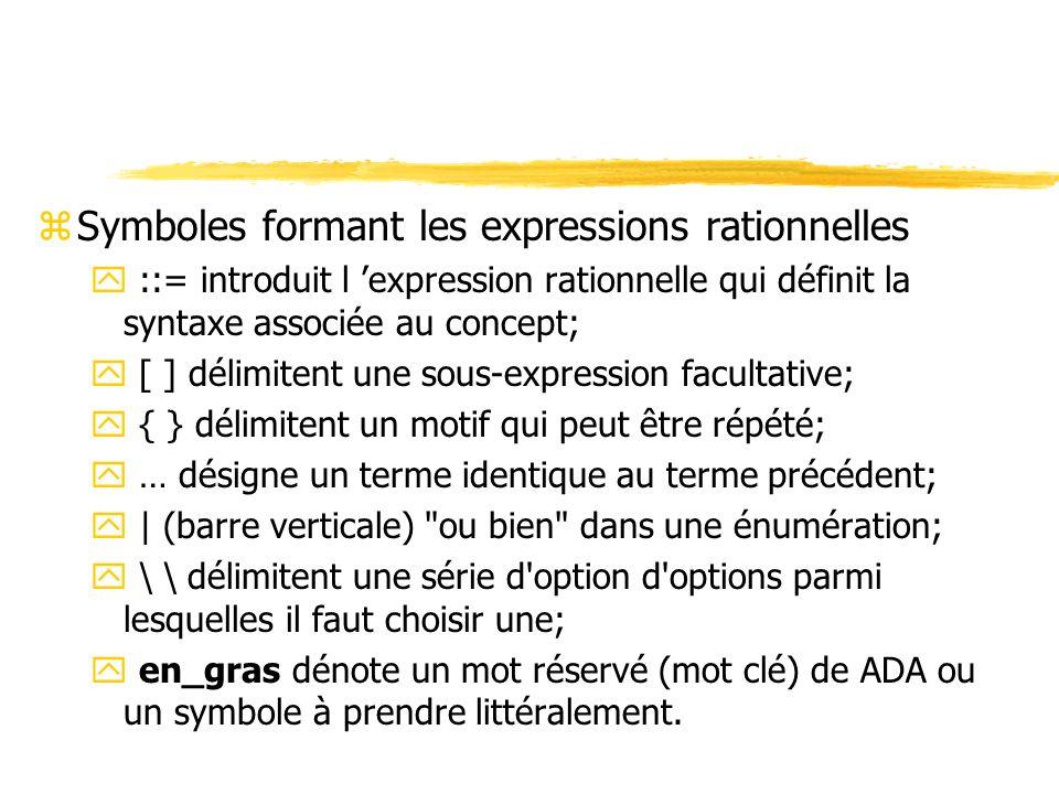 zSymboles formant les expressions rationnelles y ::= introduit l expression rationnelle qui définit la syntaxe associée au concept; y [ ] délimitent u