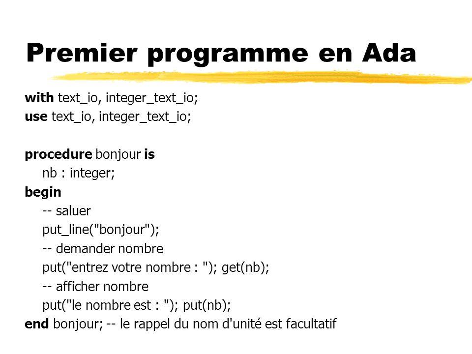 Premier programme en Ada with text_io, integer_text_io; use text_io, integer_text_io; procedure bonjour is nb : integer; begin -- saluer put_line(