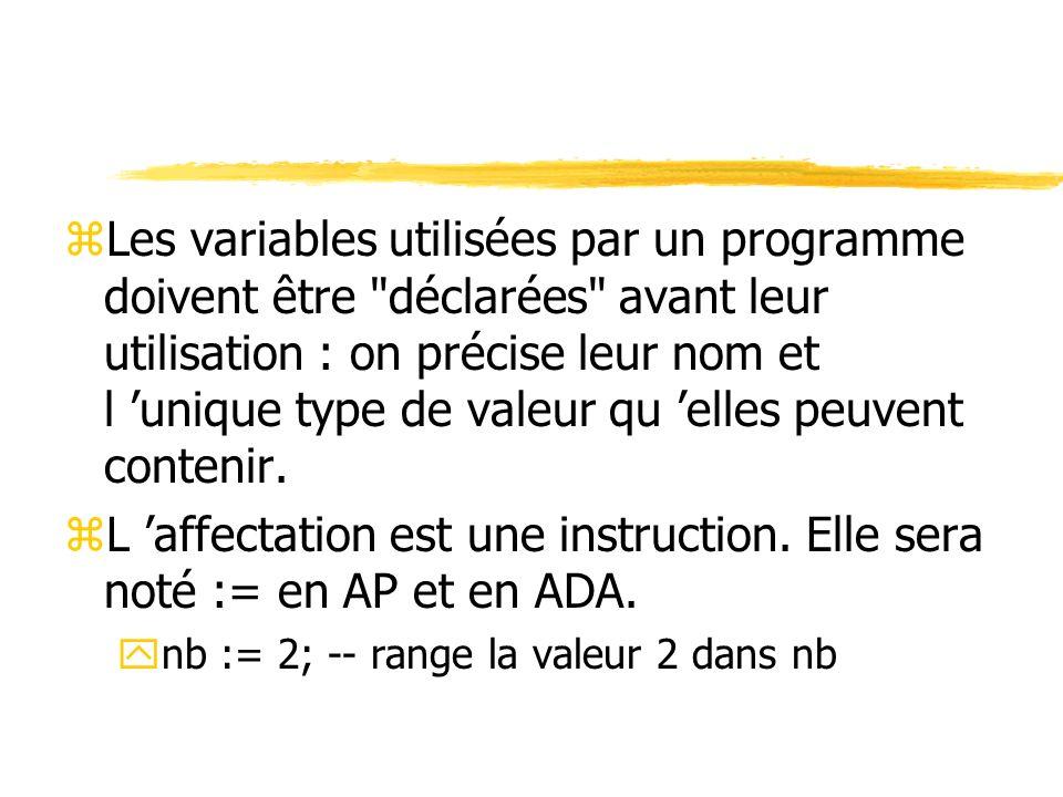 zLes variables utilisées par un programme doivent être