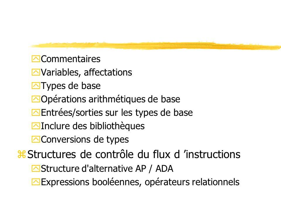 zEcriture (ou sortie) d une donnée yAP : sortir (variable | donnée ) yAda : put (variable | donnée ); xAda permet de donner un format à la donnée : nombre de chiffres, … xentiers : put (variable | donnée, nb_chiffres); xflottants : put (variable | donnée, nb_chiffres_avant_virg, nb_chiffres_apres_virg, nb_chiffres_exposant);