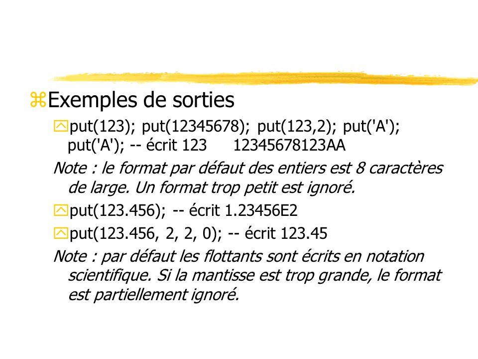 zExemples de sorties yput(123); put(12345678); put(123,2); put('A'); put('A'); -- écrit 123 12345678123AA Note : le format par défaut des entiers est