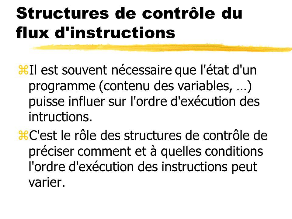Structures de contrôle du flux d'instructions zIl est souvent nécessaire que l'état d'un programme (contenu des variables, …) puisse influer sur l'ord