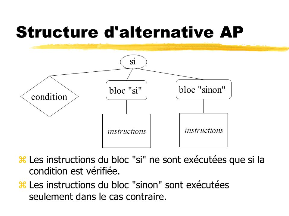 Structure d'alternative AP zLes instructions du bloc