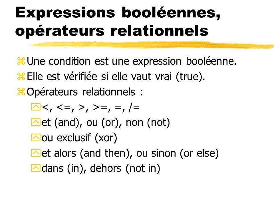 Expressions booléennes, opérateurs relationnels zUne condition est une expression booléenne. zElle est vérifiée si elle vaut vrai (true). zOpérateurs
