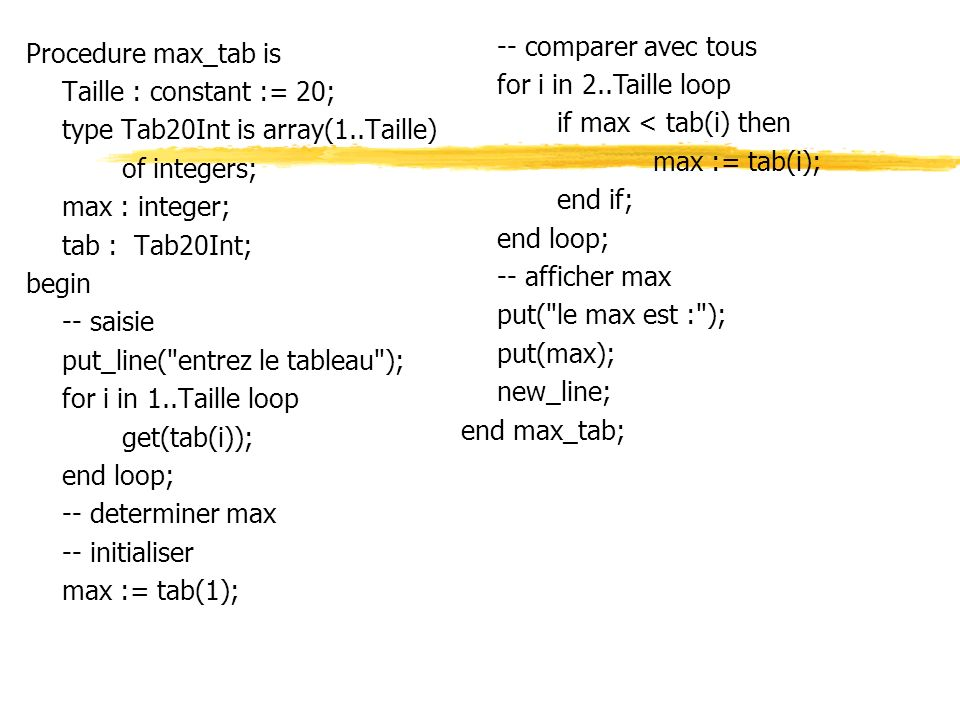 Procedure max_tab is Taille : constant := 20; type Tab20Int is array(1..Taille) of integers; max : integer; tab : Tab20Int; begin -- saisie put_line( entrez le tableau ); for i in 1..Taille loop get(tab(i)); end loop; -- determiner max -- initialiser max := tab(1); -- comparer avec tous for i in 2..Taille loop if max < tab(i) then max := tab(i); end if; end loop; -- afficher max put( le max est : ); put(max); new_line; end max_tab;
