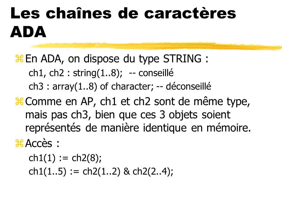 Les chaînes de caractères ADA zEn ADA, on dispose du type STRING : ch1, ch2 : string(1..8); -- conseillé ch3 : array(1..8) of character; -- déconseill
