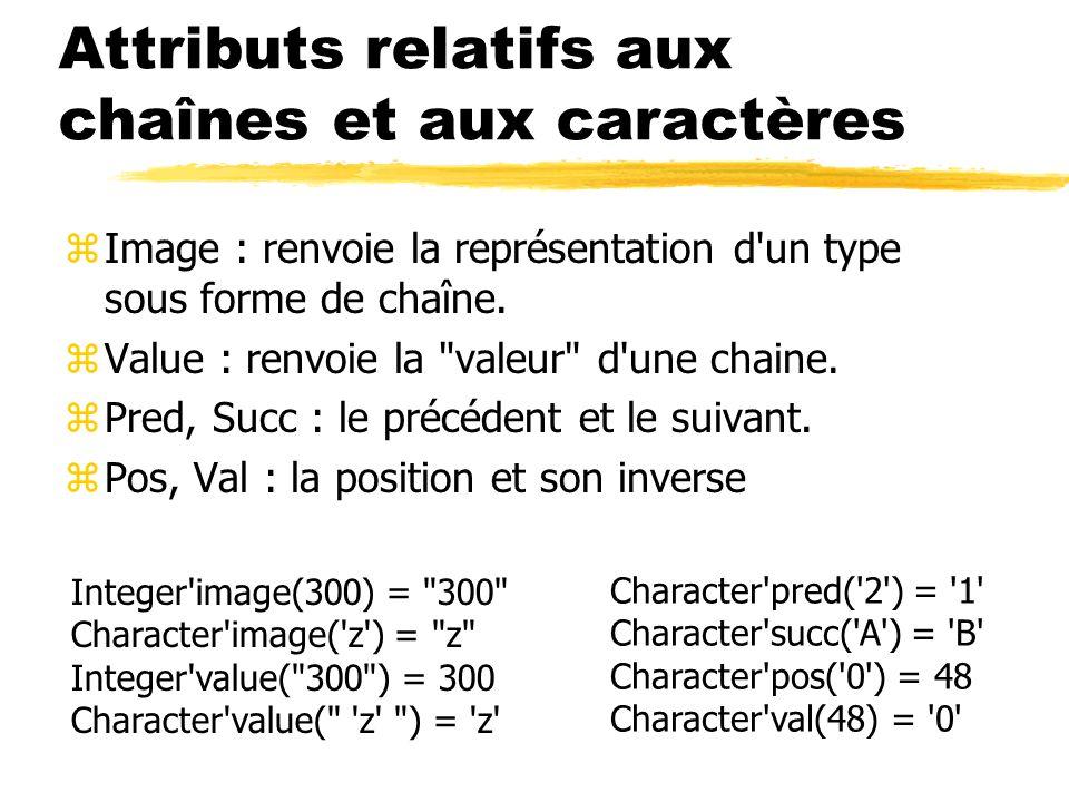 Attributs relatifs aux chaînes et aux caractères zImage : renvoie la représentation d'un type sous forme de chaîne. zValue : renvoie la