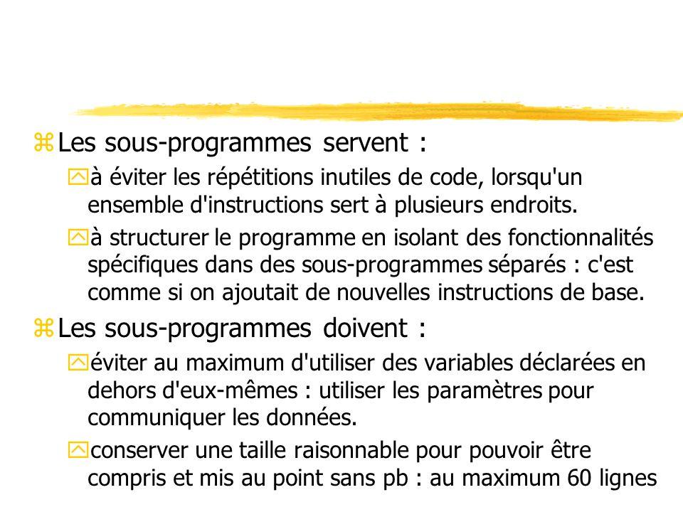 zLes sous-programmes servent : yà éviter les répétitions inutiles de code, lorsqu'un ensemble d'instructions sert à plusieurs endroits. yà structurer