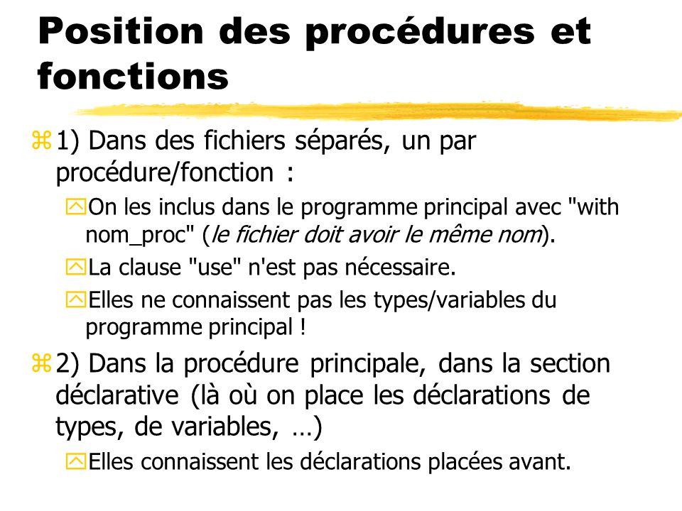 Position des procédures et fonctions z1) Dans des fichiers séparés, un par procédure/fonction : yOn les inclus dans le programme principal avec