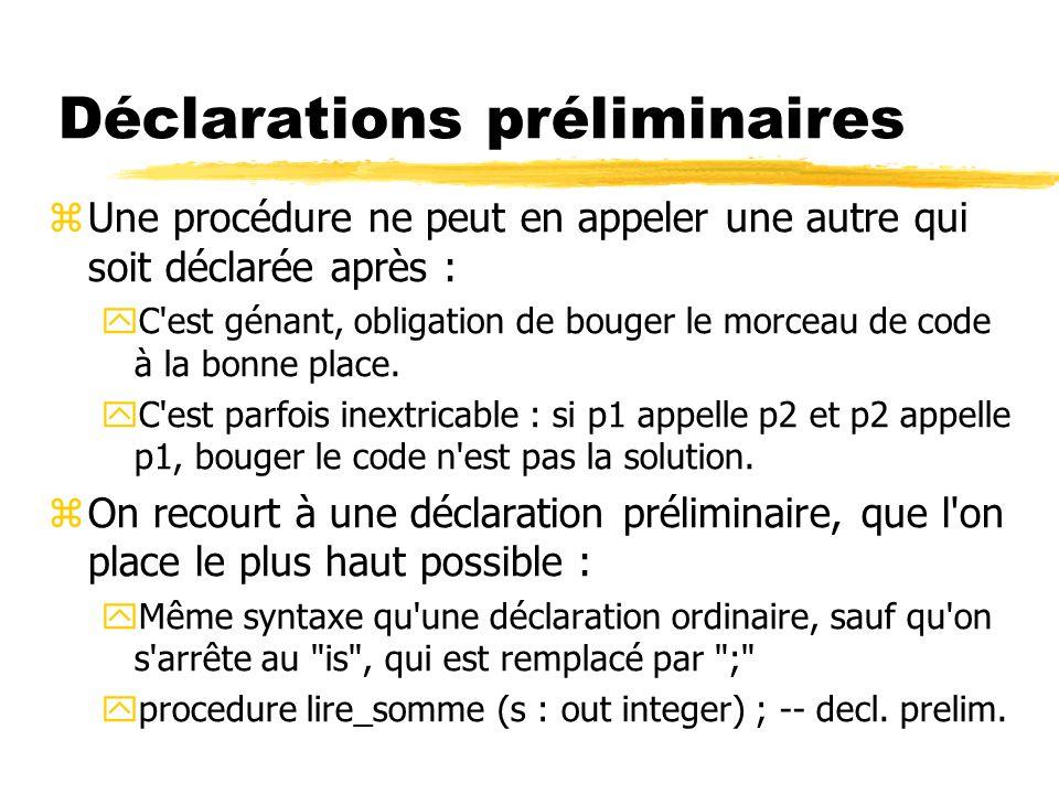 Déclarations préliminaires zUne procédure ne peut en appeler une autre qui soit déclarée après : yC'est génant, obligation de bouger le morceau de cod