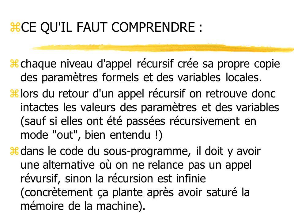 zCE QU'IL FAUT COMPRENDRE : zchaque niveau d'appel récursif crée sa propre copie des paramètres formels et des variables locales. zlors du retour d'un