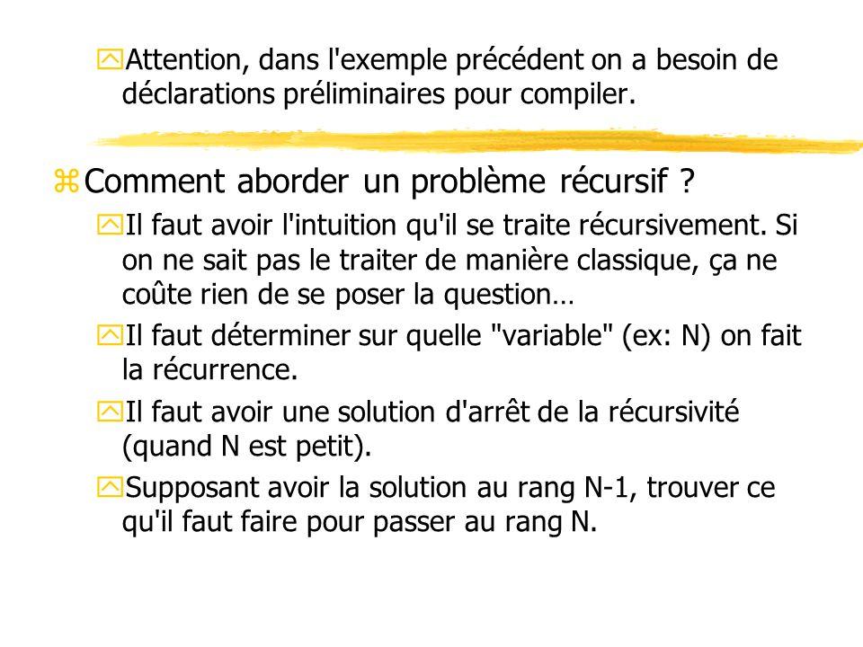 yAttention, dans l'exemple précédent on a besoin de déclarations préliminaires pour compiler. zComment aborder un problème récursif ? yIl faut avoir l
