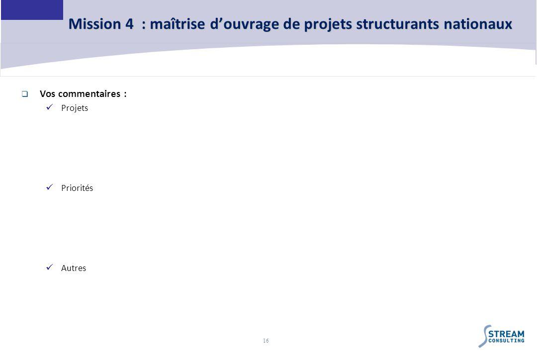 16 Mission 4 : maîtrise douvrage de projets structurants nationaux Vos commentaires : Projets Priorités Autres