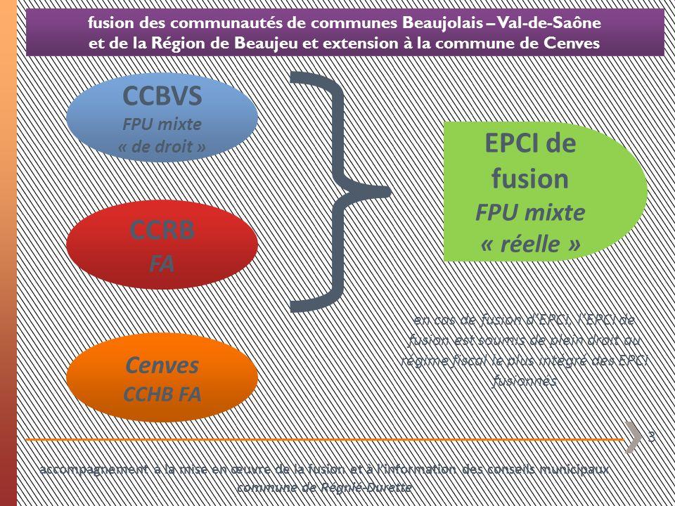 24 fusion des communautés de communes Beaujolais – Val-de-Saône et de la Région de Beaujeu et extension à la commune de Cenves commentaires du graphique relatif à la pression fiscale locale globale (page précédente) situation 2013 la fiscalité levée par le « bloc local » (commune + syndicat + CCRB) sur les 4 taxes est de 501.964 ainsi répartie 324.919 de fiscalité communale 31.589 de fiscalité syndicale 145.457 de fiscalité communautaire accompagnement à la mise en œuvre de la fusion et à linformation des conseils municipaux commune de Régnié-Durette