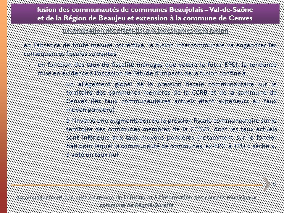 19 fusion des communautés de communes Beaujolais – Val-de-Saône et de la Région de Beaujeu et extension à la commune de Cenves accompagnement à la mise en œuvre de la fusion et à linformation des conseils municipaux commune de Régnié-Durette