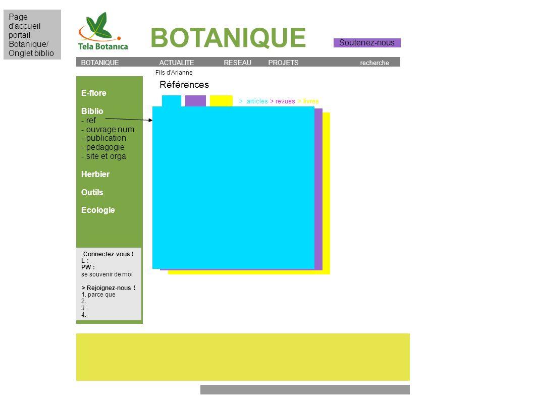 BOTANIQUE E-flore Biblio - ref - ouvrage num - publication - pédagogie - site et orga Herbier Outils Ecologie > articles > revues > livres Références