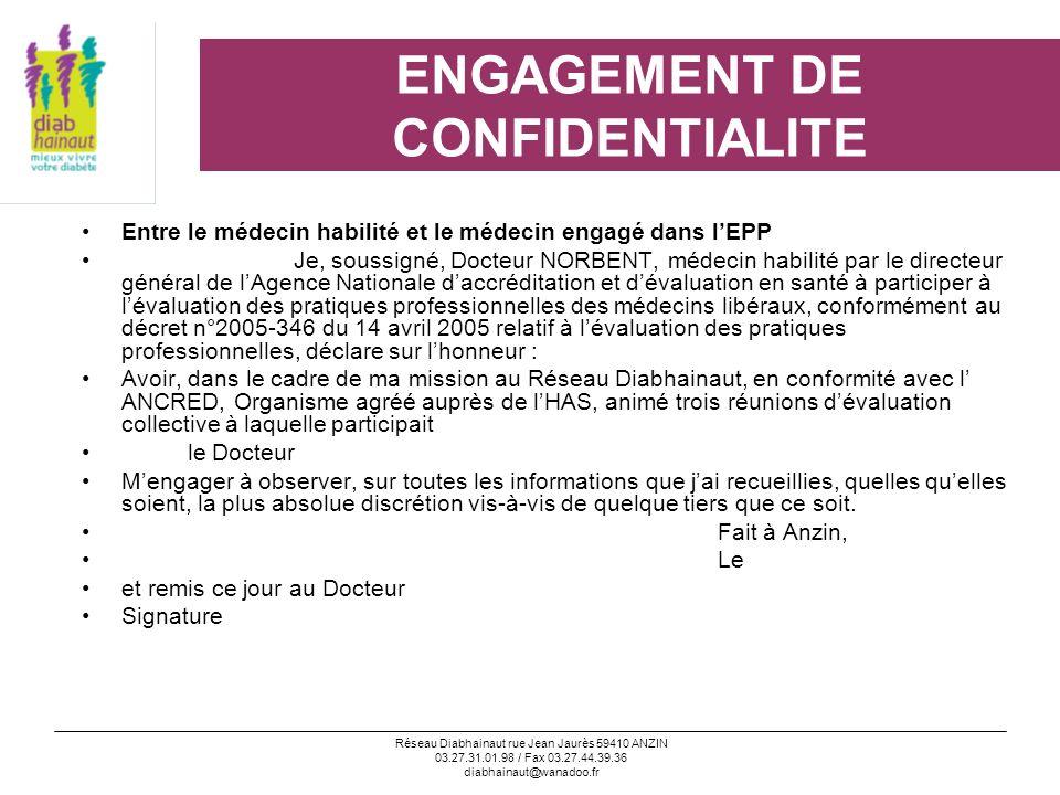 Réseau Diabhainaut rue Jean Jaurès 59410 ANZIN 03.27.31.01.98 / Fax 03.27.44.39.36 diabhainaut@wanadoo.fr ENGAGEMENT DE CONFIDENTIALITE Entre le médec